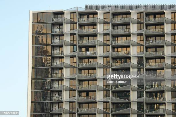 A general view of the Lacrosse building in the Docklands on June 16 2017 in Melbourne Australia There has been increased interest in the fire safety...