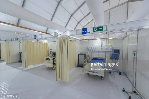 General view of the LagoaBarra field hospital on April 25 2020 in Rio de Janeiro Brazil The hospital has 7 thousand square meters with a capacity of...