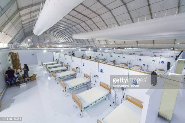 A general view of the LagoaBarra field hospital on April 25 2020 in Rio de Janeiro Brazil The hospital has 7 thousand square meters with a capacity...