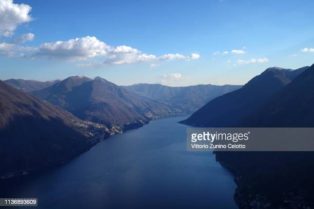 A general view of the Lake Como from Pigra on March 19 2019 in Como Italy The Lake Como is the deepest Italian Lake Lake Como is falling with a...