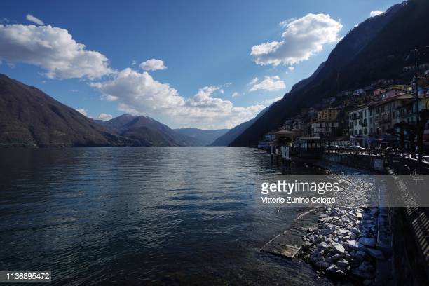 A general view of the Lake Como in Argegno on March 19 2019 in Como Italy The Lake Como is the deepest Italian Lake Lake Como is falling with a...
