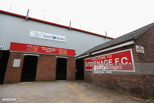 A general view of the Lamax stadium ahead of a preseason friendly match between Stevenage and Tottenham Hotspur XI at the Lamax Stadium on August 1...