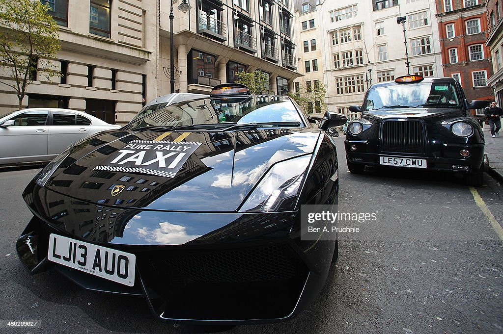 A general view of the Lamborghin taxi at its launch by Pure Rally at The Mayfair Hotel on April 23, 2014 in London, England.
