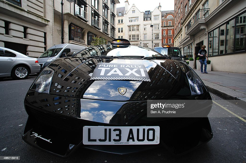 A general view of the Lamborghin taxi its launch by Pure Rally at The Mayfair Hotel on April 23, 2014 in London, England.