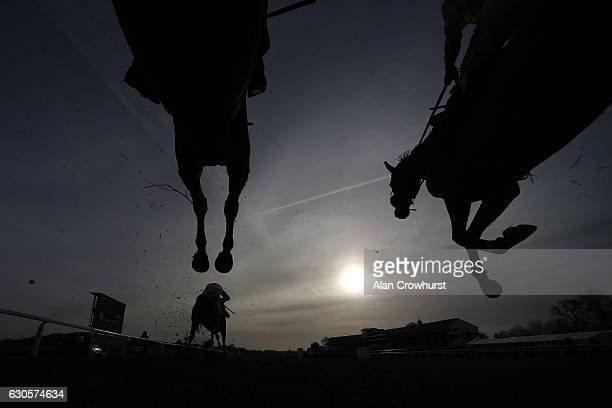A general view of the landing side of a fence at Chepstow Racecourse on December 27 2016 in Chepstow Wales