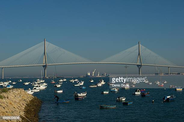 A general view of the landmark 1812 Constitution Bridge on December 3 2015 in Cadiz Spain The bridge has a total height of 185 meters with a...