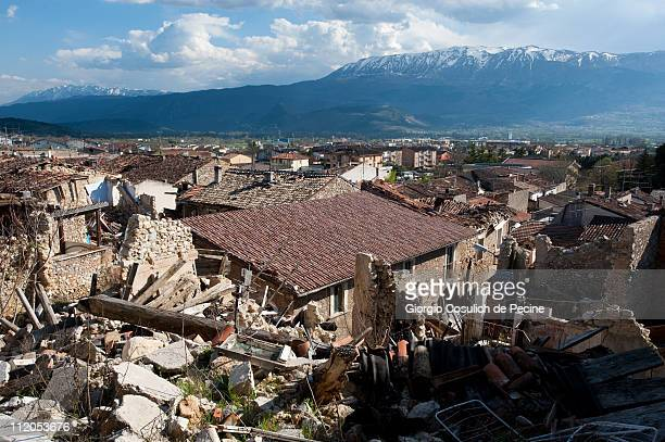 General view of the landscape and the rubble of collapsed houses in the village of Paganica, two years on from the April 6, 2009 earthquake that...