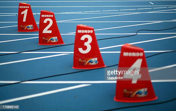 A general view of the lane markers ahead of the 14th IAAF World Athletics Championships Moscow 2013 at the Luzhniki Sports Complex on August 9 2013...