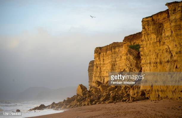General view of the large cliff fall at Hive beach on December 17, 2020 in Burton Bradstock, Dorset, England. Dorset Council said its rangers are...