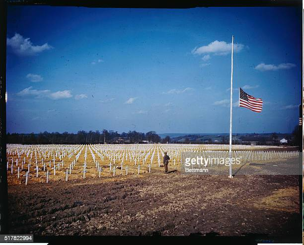 A general view of the large Henri Chapelle Cemetery of American Dead near Aachen with the US flag at half mast