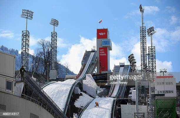 General view of the large hill and normal hill side by side at the RusSki Gorki Ski Jumping venue ahead of the Sochi 2014 Winter Olympics on February...