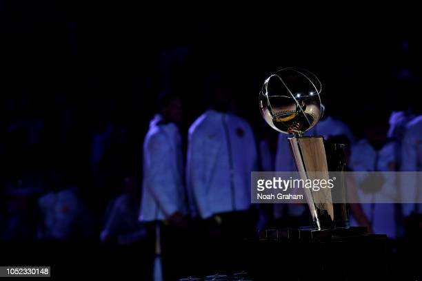 General view of the Larry O'Brien Championship trophy prior to the Golden State Warriors ring ceremony before the game against the Oklahoma City...