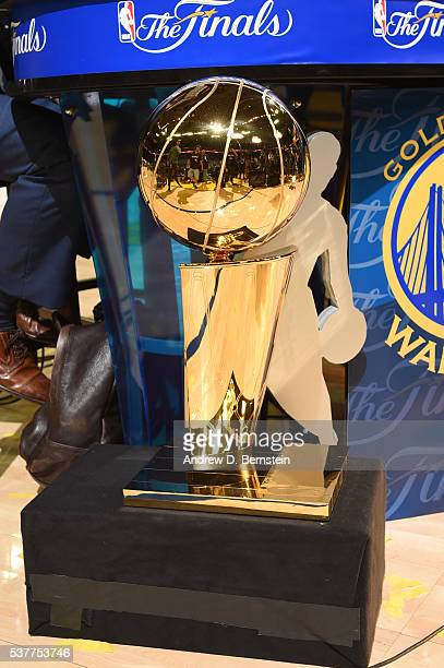 A general view of the Larry O'Brien Trophy after the game of the Cleveland Cavaliers against the Golden State Warriors during Game One of the 2016...