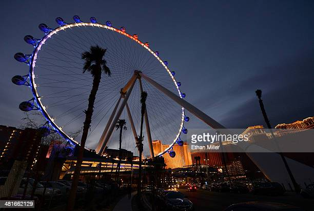 A general view of the Las Vegas High Roller at The LINQ on March 30 2014 in Las Vegas Nevada The 550foottall attraction is the highest observation...