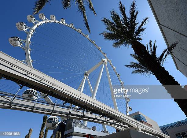 A general view of the Las Vegas High Roller under construction at The LINQ on March 21 2014 in Las Vegas Nevada The 550foottall attraction is the...