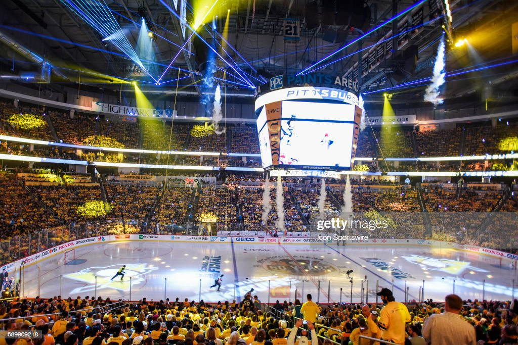 General view of the laser light show prior to start of Game 1. The Pittsburgh Penguins won 5-3 in Game One of the 2017 NHL Stanley Cup Final against the Nashville Predators on May 29, 2017, at PPG Paints Arena in Pittsburgh, PA.