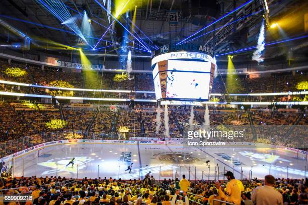 General view of the laser light show prior to start of Game 1 The Pittsburgh Penguins won 53 in Game One of the 2017 NHL Stanley Cup Final against...