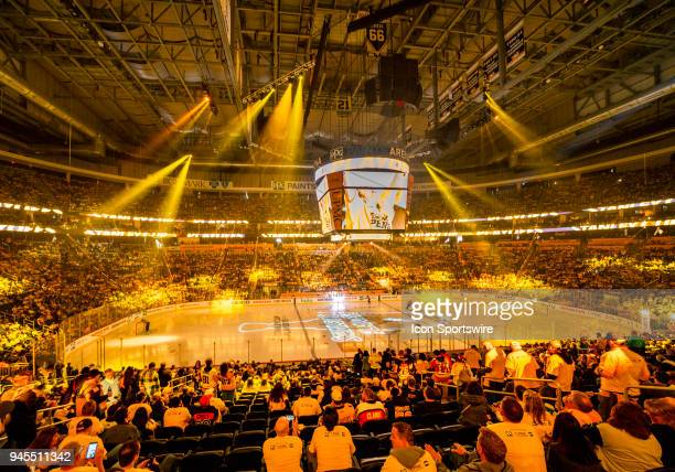General view of the laser light show prior to the start of the game The Pittsburgh Penguins won Game One of the Eastern Conference First Round during...