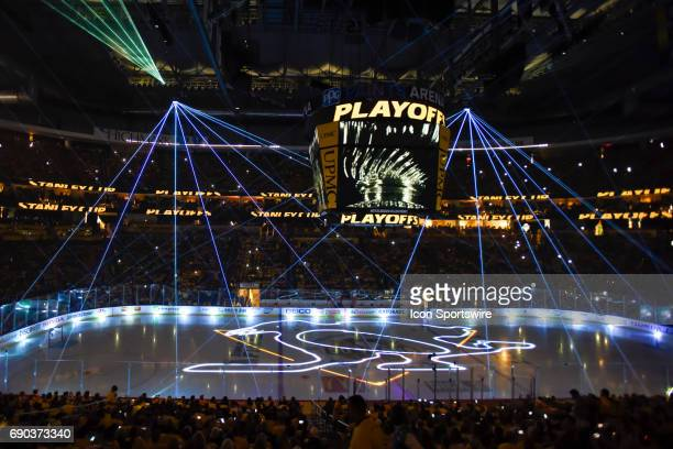 General view of the laser light show to start the Stanley Cup Final The Pittsburgh Penguins won 53 in Game One of the 2017 NHL Stanley Cup Final...