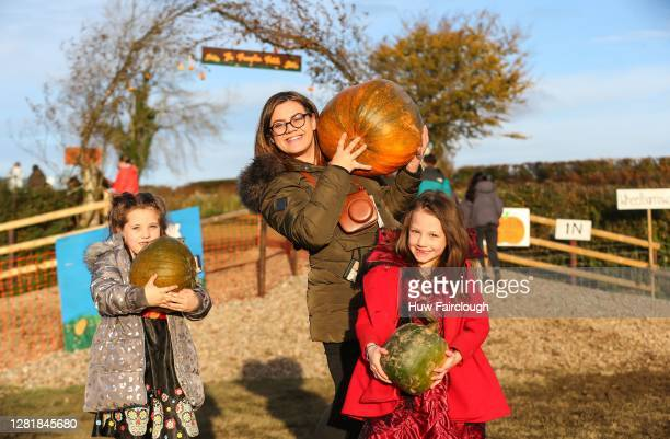 General view of the last few customers leaving Pencoed Farm with their pumpkins in preparation for Halloween on October 23, 2020 in Cardiff, Wales....