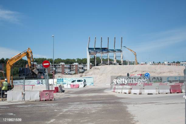 General view of the last of Vicente Calderon stadium. The demolition of the last stands of Vicente Calderon stadium continue, in the past have got...