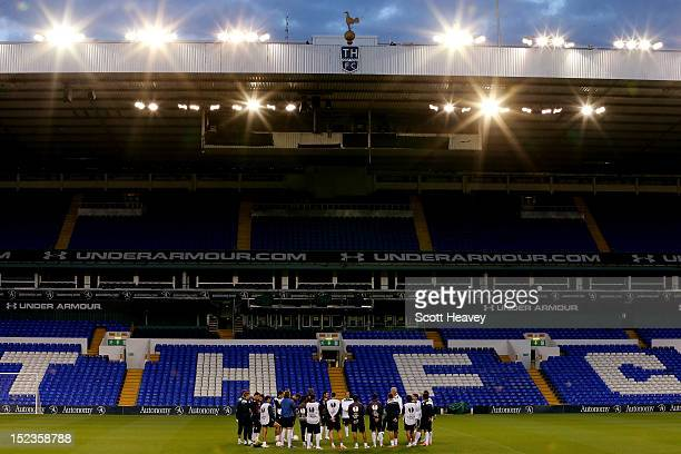 A general view of the Lazio team during a training session ahead of their Europa League match with Tottenham Hotspur on September 19 2012 in London...