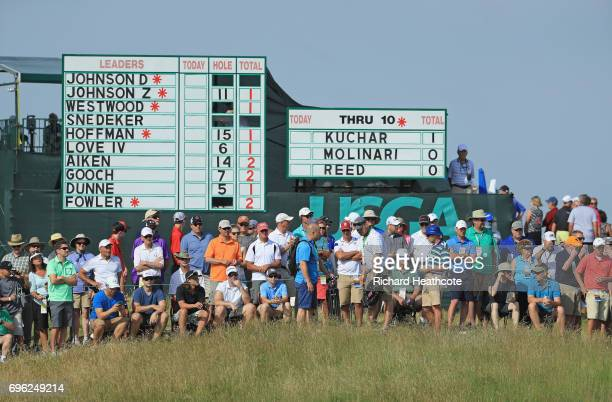 A general view of the leaderboard and fans during the first round of the 2017 US Open at Erin Hills on June 15 2017 in Hartford Wisconsin