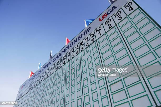 A general view of the leaderboard during the first round of the 2017 US Open at Erin Hills on June 15 2017 in Hartford Wisconsin