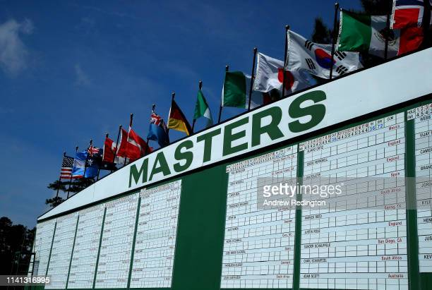 A general view of the leaderboard next to the first hole during a practice round prior to The Masters at Augusta National Golf Club on April 08 2019...