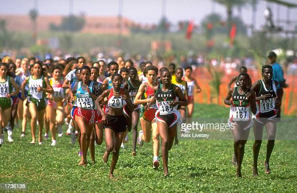 General view of the leaders in the Junior Womens event during the World Cross Country Championships in Marrakech Morocco on the 21st of March 1998