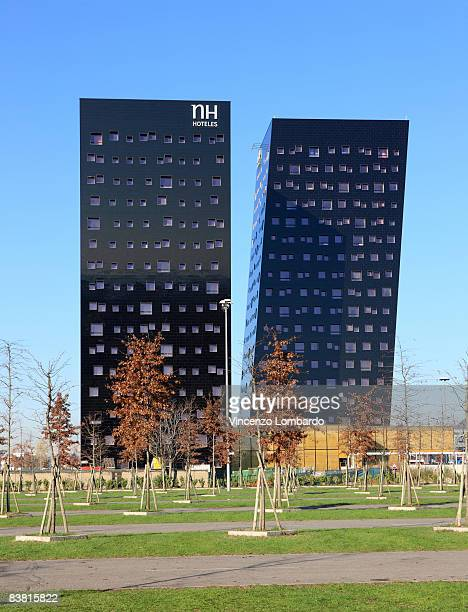 A general view of the leaning towers designed by French architect Dominique Perrault on November 8 2008 in Milan Italy The towers which will host the...
