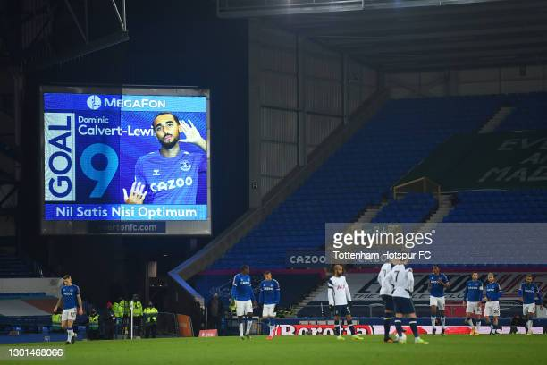 General view of the LED board after Dominic Calvert-Lewin of Everton scores their side's first goal during The Emirates FA Cup Fifth Round match...