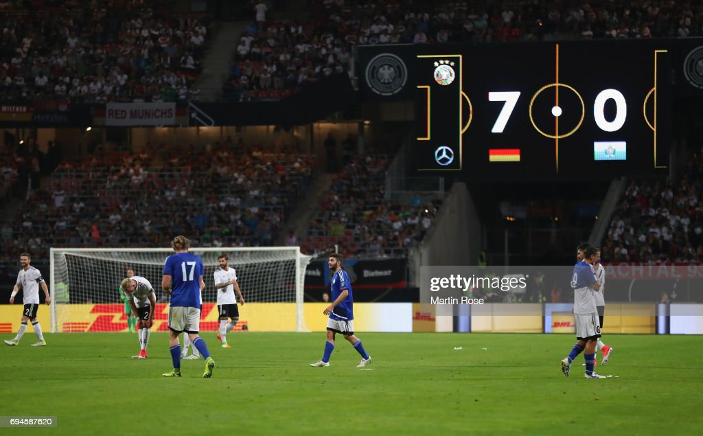 A general view of the LED board showing the scoreline during the FIFA 2018 World Cup Qualifier between Germany and San Marino at Stadion Nurnberg on June 10, 2017 in Nuremberg, Bavaria.