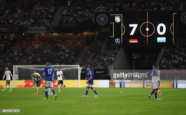A general view of the LED board showing the scoreline during the FIFA 2018 World Cup Qualifier between Germany and San Marino at Stadion Nurnberg on...