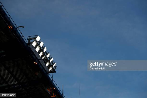 General view of the LED floodlights before The Emirates FA Cup Fifth Round match between Chelsea and Hull City at Stamford Bridge on February 16 2018...