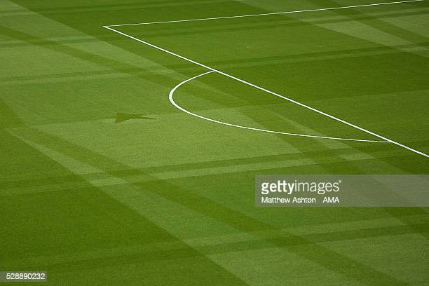 General View of the Leicester pitch showing a special Champions pattern created by the ground staff prior to the Barclays Premier League match...