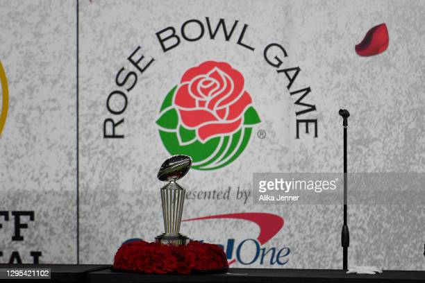 General view of the Leishman Trophy after the College Football Playoff Semifinal at the Rose Bowl football game between the Alabama Crimson Tide and...