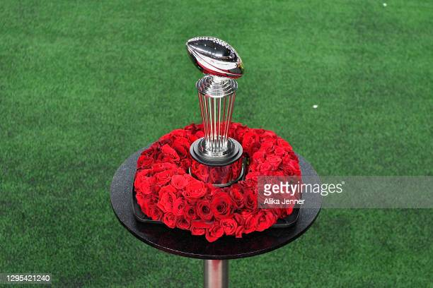 General view of the Leishman Trophy during the College Football Playoff Semifinal at the Rose Bowl football game between the Alabama Crimson Tide and...