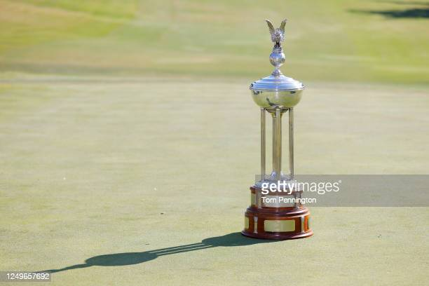 A general view of the Leonard Trophy during the final round of the Charles Schwab Challenge on June 14 2020 at Colonial Country Club in Fort Worth...