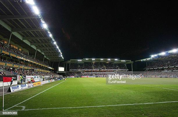General view of the Lerkendal Stadion taken during the Norwegian Tippeligaen match between Rosenborg BK and Aalesund held on October 25 2009 at the...