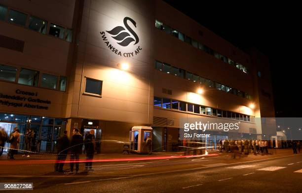 A general view of the Liberty Stadium ahead of the Premier League match between Swansea City and Liverpool at Liberty Stadium on January 22 2018 in...