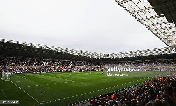 A general view of the Liberty Stadium during the Barclays Premier League match between Swansea City and Wigan Athletic at Liberty Stadium on August...