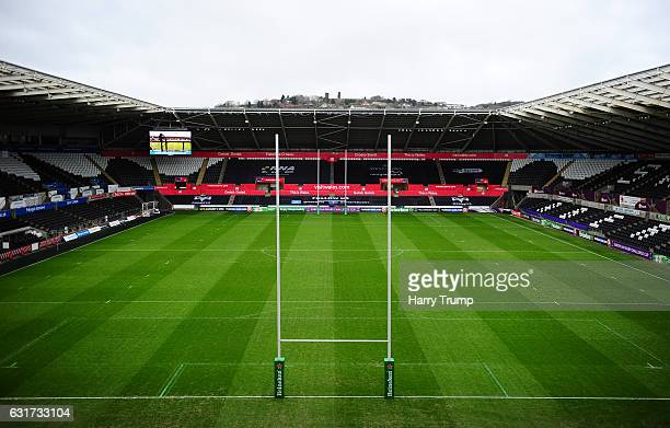 General view of the Liberty Stadium during the European Rugby Challenge Cup match between Ospreys and Lyon at the Liberty Stadium on January 15 2017...