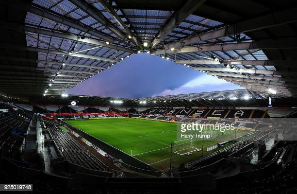 General view of the Liberty Stadium during the The Emirates FA Cup Fifth Round Replay match between Swansea City and Sheffield Wednesday at the...