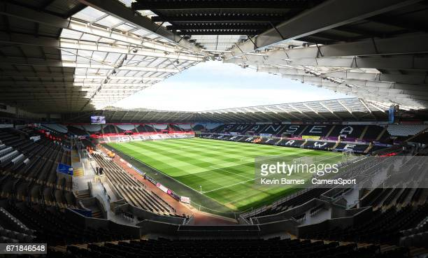 A general view of the Liberty Stadium home of Swansea City during the Premier League match between Swansea City and Stoke City at Liberty Stadium on...