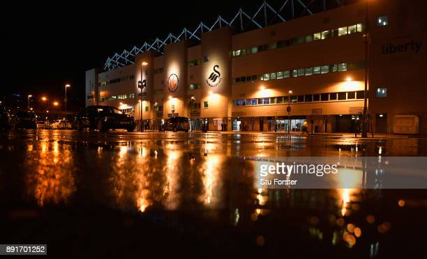 A general view of the Liberty stadium in the rain before the Premier League match between Swansea City and Manchester City at Liberty Stadium on...