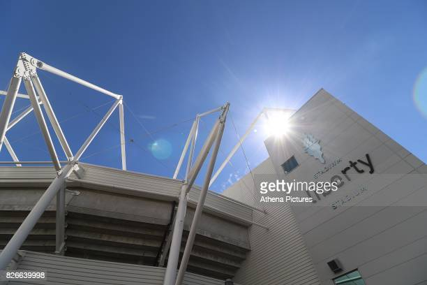 A general view of the Liberty Stadium prior to kick off of the preseason friendly match between Swansea City and Sampdoria at The Liberty Stadium on...