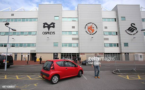 A general view of the Liberty Stadium where UK Independence Party leader Nigel Farage is holding a meeting on April 30 2014 in Swansea Wales The...