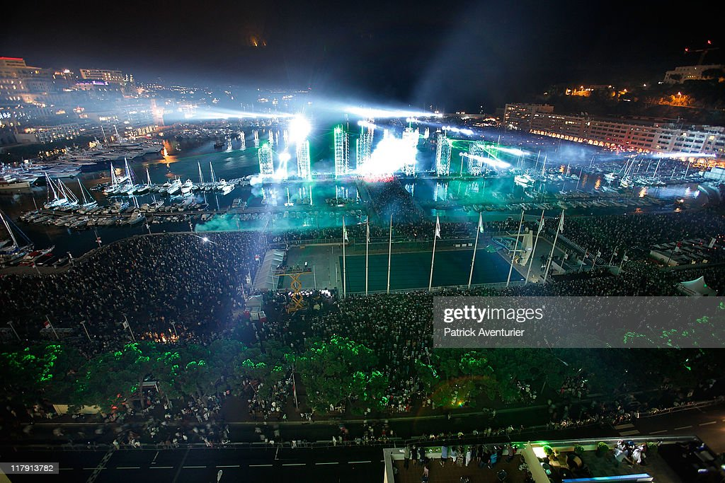 A general view of the lightshow as Jean Michel Jarre performs onstage during a concert celebrating the wedding of Prince Albert II of Monaco to Charlene Wittstock at Port of Monaco on July 1, 2011 in Monaco. The civil ceremony took place in the Throne Room of the Prince's Palace of Monaco, followed by a religious ceremony to be conducted in the main courtyard of the Palace on July 2. With her marriage to the head of state of Principality of Monaco, Charlene Wittstock has become Princess consort of Monaco and gains the title, Princess Charlene of Monaco. Celebrations including concerts and firework displays are being held across several days, attended by a guest list of global celebrities and heads of state.