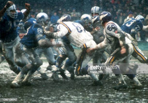 General view of the line of scrimmage as the Minnesota Vikings and Detroit Lions play during an NFL game on November 27 1969 at Tiger Stadium in...
